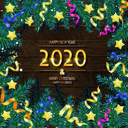 2020 Happy New Year and Merry Christmas Frame with Snow and real wood green pine. Vector illustration