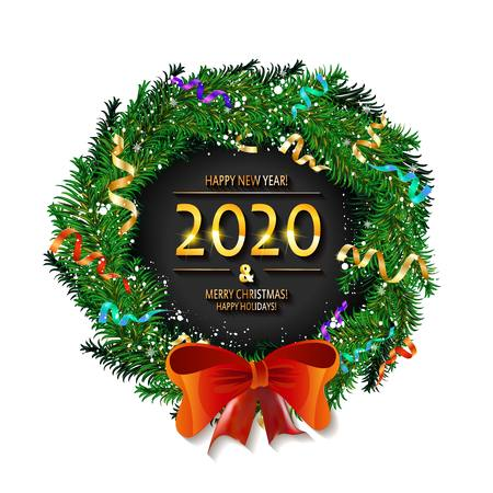 Merry Christmas and Happy New Year 2020 background. Christmas wreath with snow fir cones tangerines spruce cinnamon nuts. Flat lay. Copy space. Vector illustration