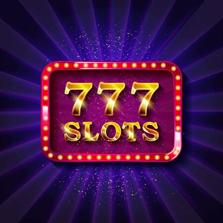 777 slots banner text, against the backdrop of bright rays. Vector illustration Vettoriali