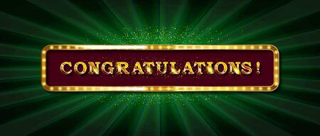 Congrats, Congratulations banner with glitter decoration. Handwritten modern brush lettering dark background.