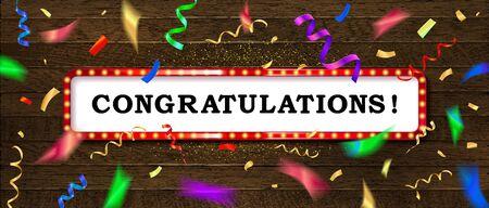 Congrats, Congratulations banner with glitter decoration. Handwritten modern brush lettering wooden background.