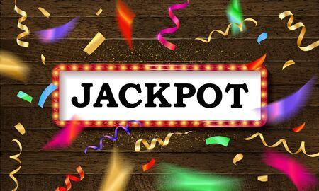 Shining retro sign Jackpot banner.  イラスト・ベクター素材