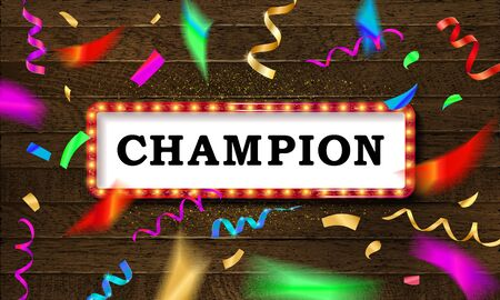 Bandera de campeón. Champ felicitaciones marco vintage, cartel enmarcado de felicitación dorada con confeti dorado. Sobre fondo de madera