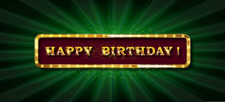 Happy Birthday card, banner. Beautiful greeting poster with calligraphy, hand drawn design elements. Gold modern letters lettering on a dark background isolated illustration 写真素材 - 127485230