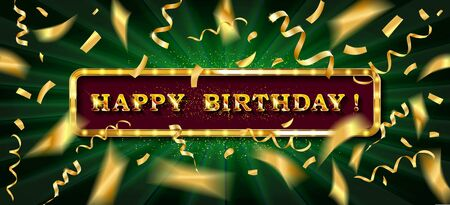 Gold lettering Happy Birthday with golden streamers and confetti on dark background. 写真素材 - 127485232
