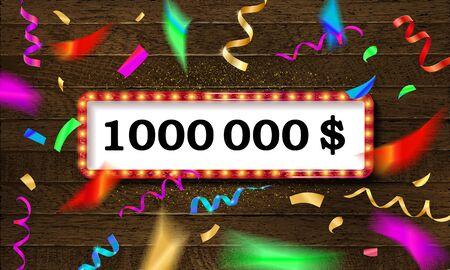 Golden banner 1,000,000 dollars on a dark wooden background.