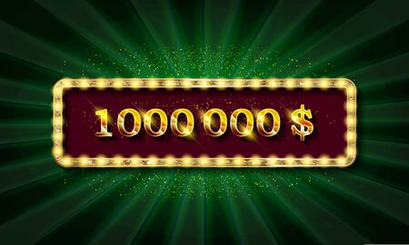 Golden banner 1,000,000 dollars on a dark background. 写真素材 - 127485534