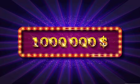 Golden banner 1,000,000 dollars on a dark background.