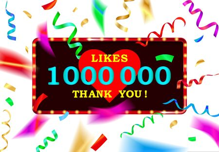 Thank you for 1 million likes. Banner with colored confetti.