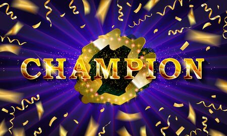 Champion banner. Champ congratulations vintage frame, golden congratulating framed sign with gold confetti. 写真素材 - 127485538