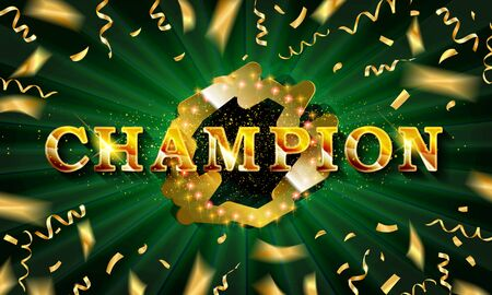 Champion banner. Champ congratulations vintage frame, golden congratulating framed sign with gold confetti. Standard-Bild - 127485541