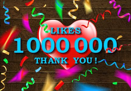 Thank you for 1 million likes. Banner with colored confetti. Standard-Bild - 127485539