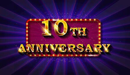 Anniversary 10 years number golden