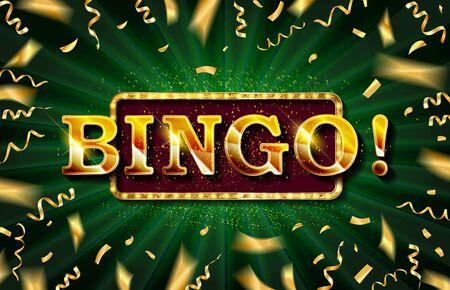 Bingo casino banner, first deposit bonus, vector illustration