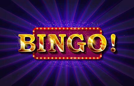 Bingo Banner Vector. Casino Glowing Lamps. For Fortune Advertising Design. Gambling vector Illustration