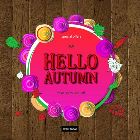 Vector illustration of pink round frame with autumn sales on wooden background