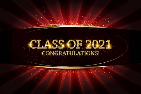 Class of 2021 Congratulations Graduates gold text with golden ribbons on dark background. Vector illustration  イラスト・ベクター素材