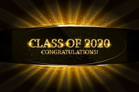 Class of 2020 Congratulations Graduates gold text with golden ribbons on dark background. Vector illustration