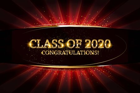 Class of 2020 Congratulations Graduates gold text with golden ribbons on dark background. Vector illustration Banque d'images - 132200526