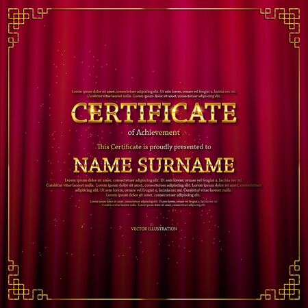 Elegant template of diploma , place for text. Certificate of achievement, education, awards, winner. Vintage style of old cinema. On the  of the curtain. Vector illustration  .