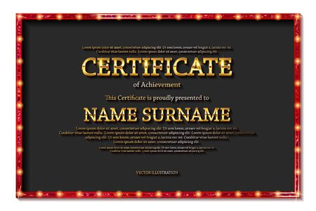 Elegant template of diploma , place for text. Certificate of achievement, education, awards, winner. Vintage style of old cinema. Vector illustration  .