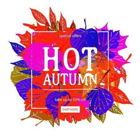Autumn sale banner design. Vector illustration