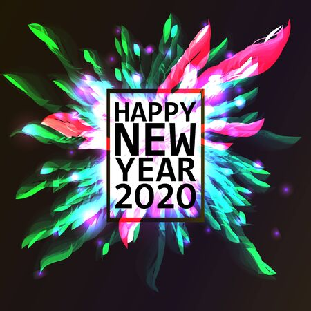 2020. Happy New Year. Holiday vector illustration. Festive light banner with sparkling firework rockets, fireworks, flashes and text label. New Year poster template design. 写真素材 - 128062503