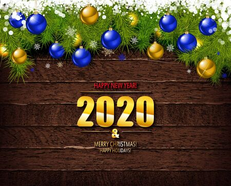 Happy New Year 2020. Trendy background with Golden twinkles and geometric designs on wooden background . Poster, card, label, banner design. Vector illustration