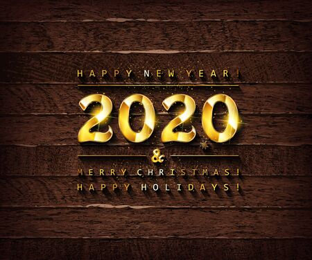 Happy New Year 2020. Trendy background with Golden twinkles and geometric designs on wooden background . Poster, card, label, banner design. Vector illustration 写真素材 - 131966556
