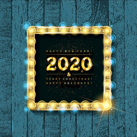 Merry Christmas and happy New year 2020. Gold lettering on vintage wooden background. Vector illustration