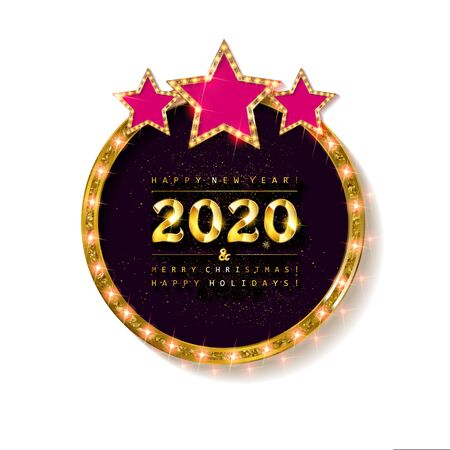 Happy New Year 2020 and Merry Christmas greeting card golden glitter decoration. Gold greeting card ornament of circle and text calligraphy lettering. Raster copy  イラスト・ベクター素材