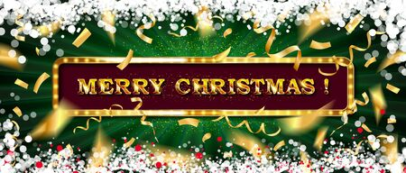 Merry christmas and happy new year 2020 vector greeting card and poster design with golden ribbon,star and confetti. Vector illustration  イラスト・ベクター素材