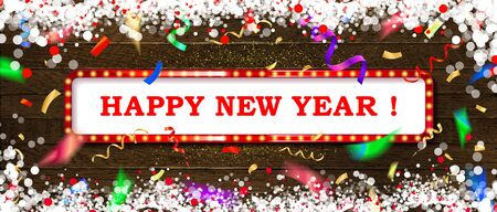 Happy New Year 2020 vector greeting card and poster design with golden ribbon,star and confetti. On wooden background. Vector illustration Standard-Bild - 129160675
