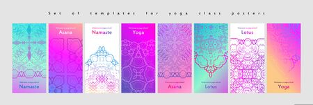 Set of yoga and meditation graphics and logo symbols. Vector illustration