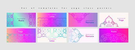 Set of yoga and meditation graphics and logo symbols. Vector illustration