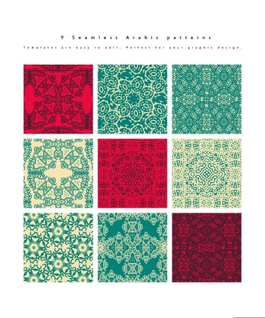 Set of Seamless moroccan pattern. Collection of seamless abstract pattern in arabic style. Vector illustration