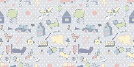 Pattern, sketch, drawings, children s drawings, cat, flowers, snail, house butterfly car triangle grunge frame Vector illustration