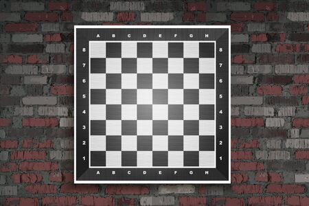Chess board vector. Wooden. Against a vintage brick wall. Vector illustration