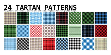 Lumberjack Tartan and Buffalo Check Plaid Patterns in Red, Black, White and Khaki. Trendy Hipster Style Backgrounds. Vector EPS File Pattern Swatches made with Global Colors.
