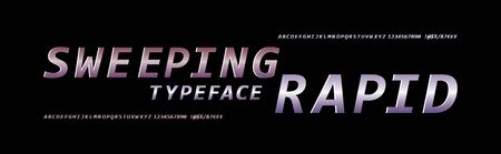 Rapid futuristic alphabet lettering.Vector font. Capital letters and numbers. Great font for headlines, labels, quotes, titles, posters or logotypes. Latin alphabet letters. Ilustração