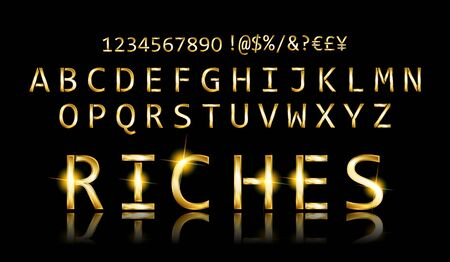 Gold font with additional currency, numbers and special symbols and signs. Vector illustration Standard-Bild - 131966909
