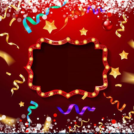 Christmas card with confetti and ribbons. Christmas red and gold frame on a festive red background. Vector illustration EPS 10  イラスト・ベクター素材