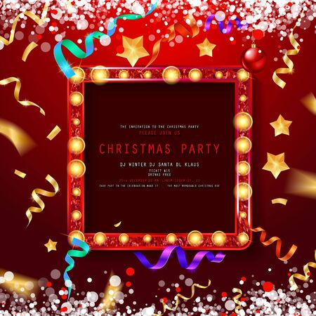Vintage Christmas Party design template. New Year Vector flyer with Christmas decorations, Light garlands and confetti. New Year celebration. On festive red background. EPS10