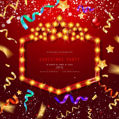 Vintage Christmas Party design template. New Year Vector flyer with Christmas decorations, Light garlands and confetti. New Year celebration. On festive red background. EPS10 写真素材 - 130511725