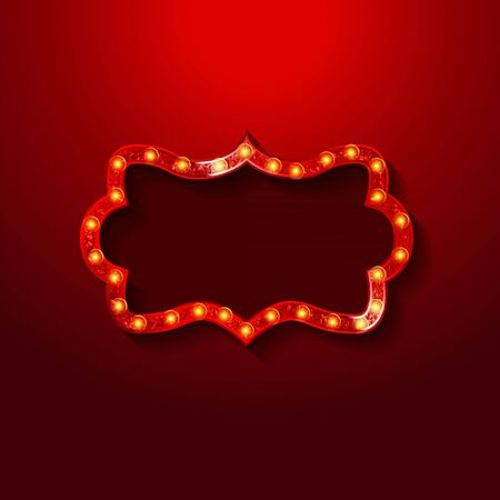 Shining retro light banner. Red background. Vector illustration EPS 10