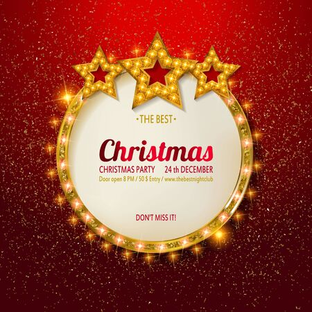Vector Christmas Party design template. Gold vintage embroidery on bright red background with sequins. Vector illustration EPS10