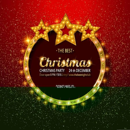 Vector Christmas Party design template. Gold vintage embroidery on bright red background with sequins. Vector illustration EPS10 Standard-Bild - 131966982