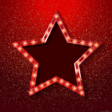 Gold star on a festive red star burst background with glitter burst. Vector illustration Reklamní fotografie - 131988156