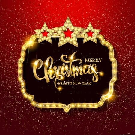 Vector Christmas Party design template. Gold vintage embroidery on bright red background with sequins. Vector illustration EPS10 Standard-Bild - 131967826