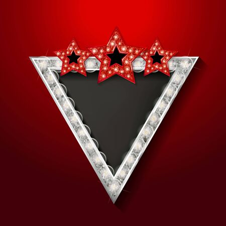 Shining silver retro triangular light banner on red background. Vector illustration